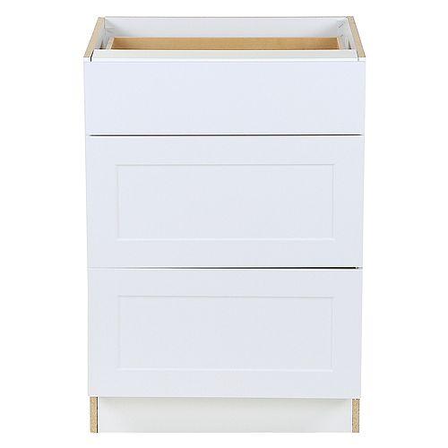 Armoire sur plancher Edson blanche assemblée 60,96 cm l x 87,63 cm H x 62,23 cm P, 3 tiroirs BD243V