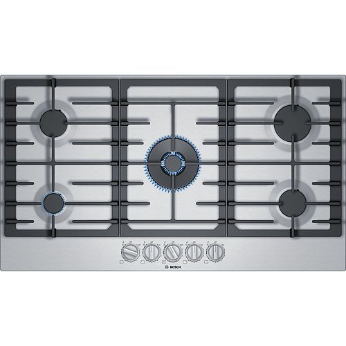 Bosch 800 Series 36-Inch Gas Cooktop with 5 Burners and FlameSelect