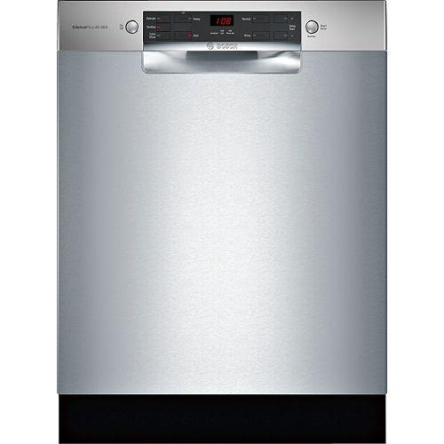 Bosch Lave-vaisselle 24 pouces à commande frontale de la série 300 en acier inoxydable, 46 dBA, anti-empreintes ENERGY STAR®.