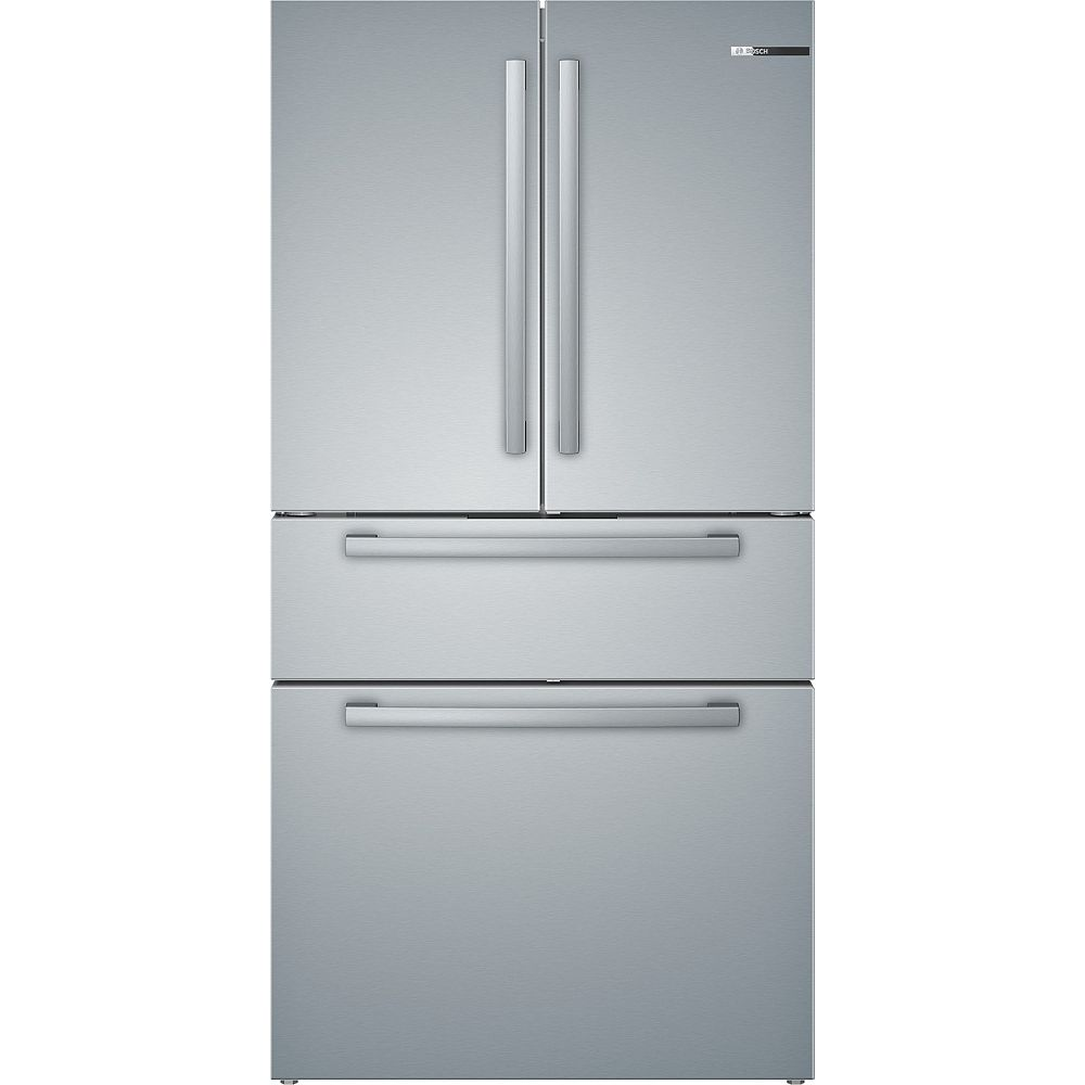 Bosch 800 Series 36-inch 20.5 cu.ft. Smart 4-Door French Door Refrigerator with Home Connect in Stainless Steel - ENERGY STAR®