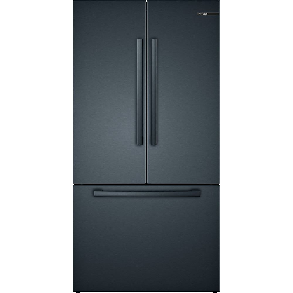Bosch 800 Series 36-inch 20.5 cu.ft. Smart Counter-Depth French Door Refrigerator with Home Connect in Black Stainless Steel - ENERGY STAR®