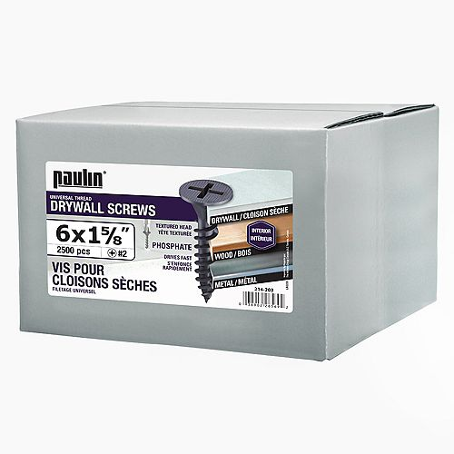 #6 x 1-5/8-inch Drywall Screws Universal Thread - 2500 pcs/box