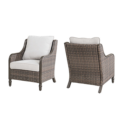 Windsor Wicker Patio Lounge Chair in Brown with CushionGuard Biscuit Tan Cushions (Set of 2)
