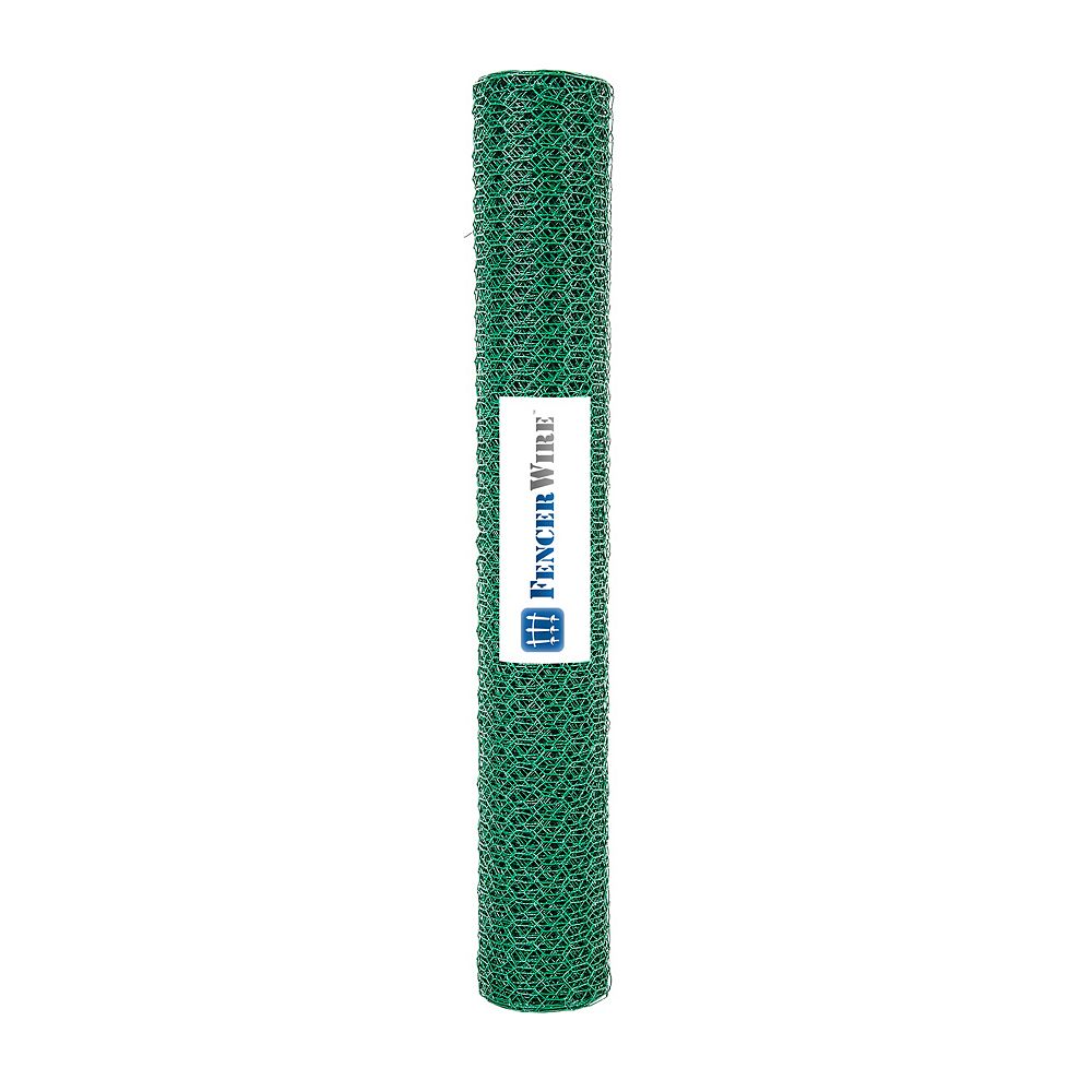 Fencer Wire 1/2 inch x 2 ft. x 25 ft. 24-Gauge Green PVC Coated Poutry Netting