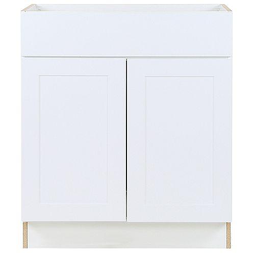 Edson 30 pouces W x 34,5 pouces H x 24,5 pouces D Shaker Style Assemblé Évier de cuisine Armoire/Armoire en blanc massif (BS30)