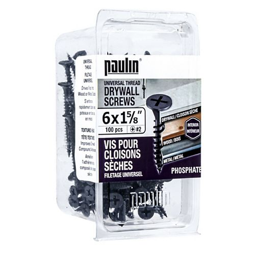 Paulin #6 X 1-5/8-inch Drywall Screws Universal Thread (100 pcs)