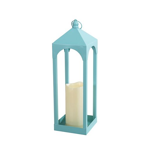 Metal Lantern with 1 LED Candle in Pastel Turquoise Finish