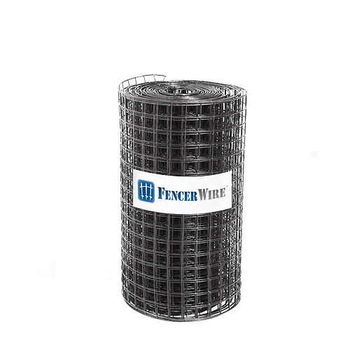 Fencer Wire 2 ft. x 100 ft. 16-Gauge Black PVC Coated Welded Wire Fence with Mesh Size 1.5 inch x 1.5 inch