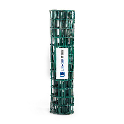 2 ft. x 25 ft. 16-Gauge Green PVC Coated Welded Wire Fence with Mesh Size 3 inch x 2 inch