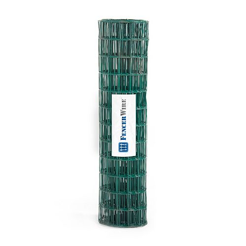 Fencer Wire 2 ft. x 25 ft. 16-Gauge Green PVC Coated Welded Wire Fence with Mesh Size 3 inch x 2 inch