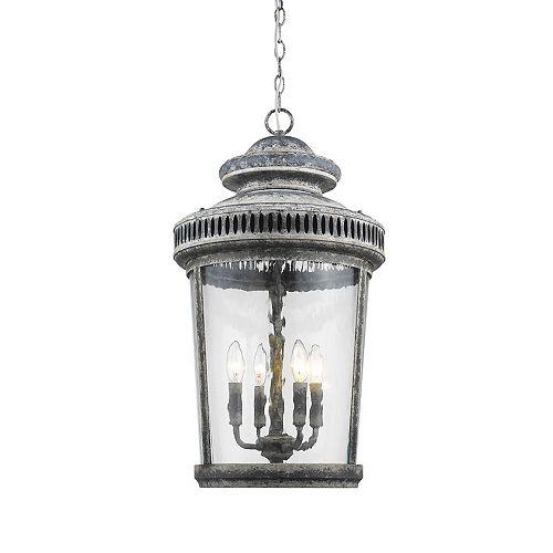 Lanterne style ronde à 4 lumières abat-jours verre-Kingston