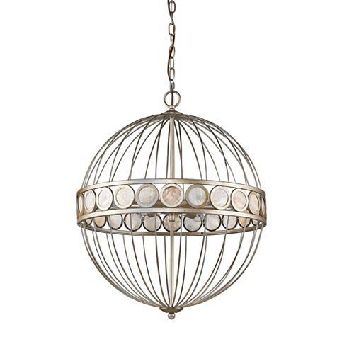 Luminaire suspendu Aria 6 lumières avec perles disques