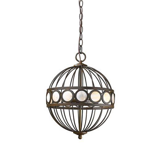 Luminaire suspendu Aria 3 lumières avec perles disques en fini Bronze huilé