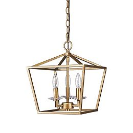 Kennedy 3-Light Antique Gold Chandelier w/Crystal Bobeches