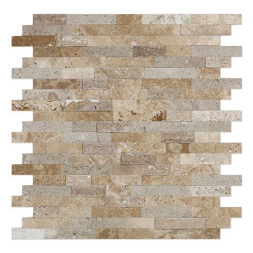 Tuile de mosaÏque auto-adhésive pour murs Sandy 11,77 po x 11,57 po x 8 mm, pierre, beige