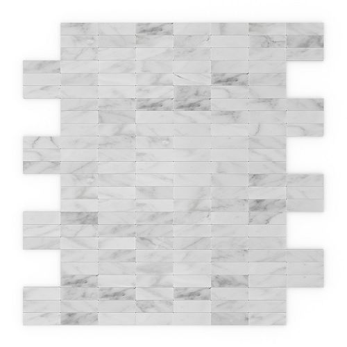 Freezy Natural White 11.42-inch x 11.57-inch x 5mm Stone Self Adhesive Wall Mosaic Tile