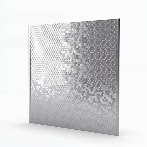 Hexagonia Stainless 29.6-inch x 30.5-inch x 5 mm Metal Self-Adhesive Mosaic Range Backsplash Tile