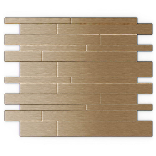 Murano Light Copper 12.20-inch x 9.72-inch x 5 mm Metal Self Adhesive Wall Mosaic Tile