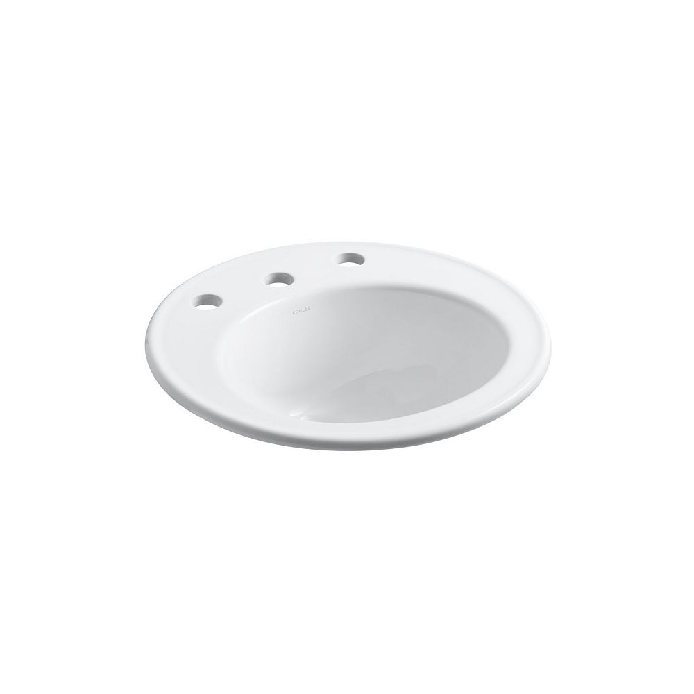 "KOHLER 19"" Diameter Drop-In Bathroom Sink With 8"" Widespread Faucet Holes"