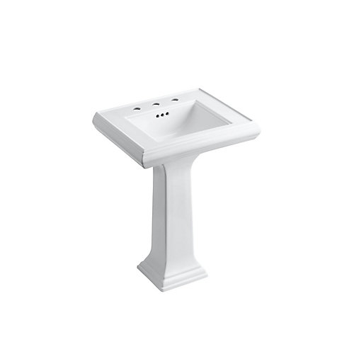 """Classic 24"""" Pedestal Bathroom Sink With 8"""" Widespread Faucet Holes"""