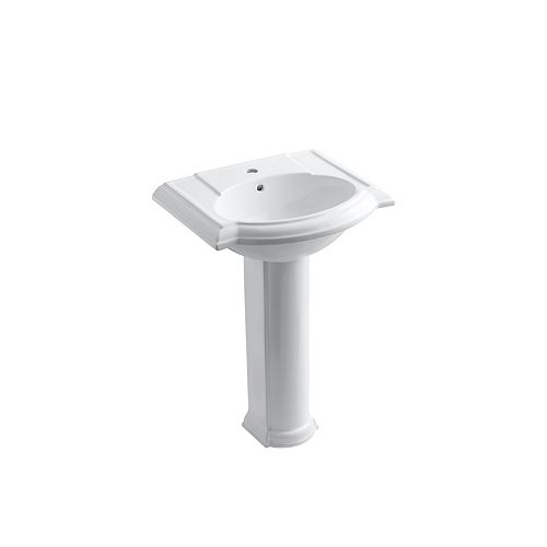 """24"""" Pedestal Bathroom Sink With Single Faucet Hole"""