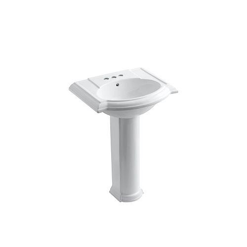 "24"" Pedestal Bathroom Sink With 4"" Centerset Faucet Holes"