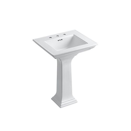 """Stately 24"""" Pedestal Bathroom Sink With 8"""" Widespread Faucet Holes"""