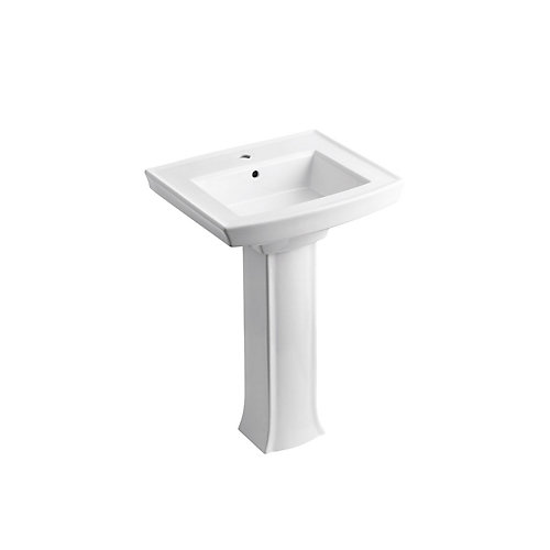 Pedestal Bathroom Sink With Single Faucet Hole