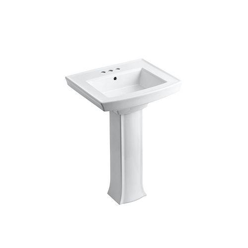 "Pedestal Bathroom Sink With 4"" Centerset Faucet Holes"