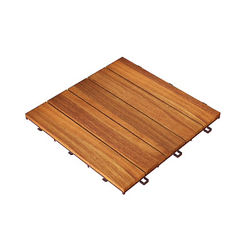 Acacia Hardwood Modular CAMP 5 Deck Tiles, 10-pack, 100 Tiles, 100 Square Foot Coverage