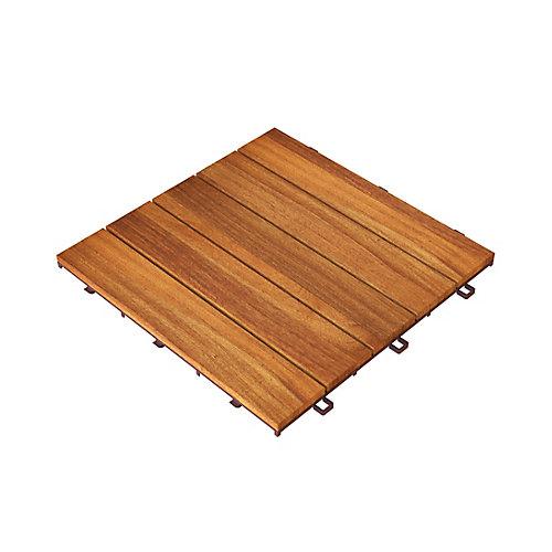 Tuiles de terrasse modulaires CAMP 5 en bois dur Acacia, paquet de 25, couverture de 250 tuiles et 250 pieds carrés