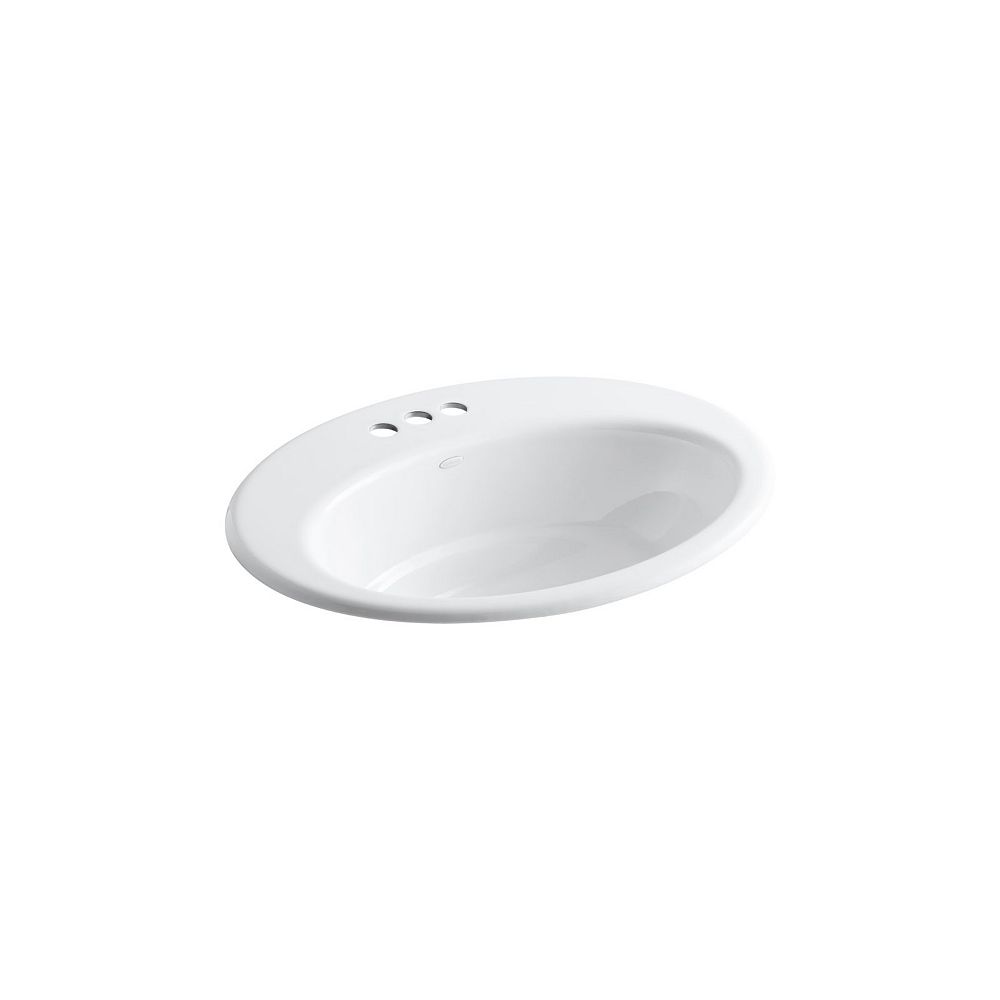 "KOHLER Drop-In Bathroom Sink With 4"" Centerset Faucet Holes"