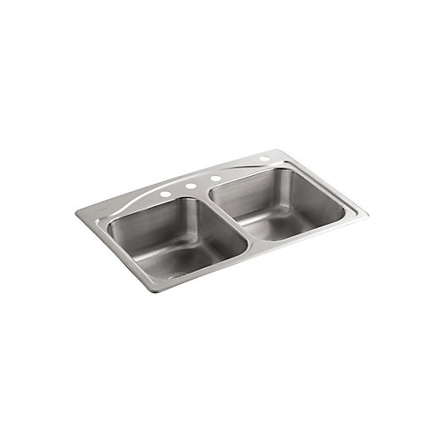 """33"""" X 22"""" X 8-5/16"""" Top-Mount Double-Equal Kitchen Sink With 4 Faucet Holes"""