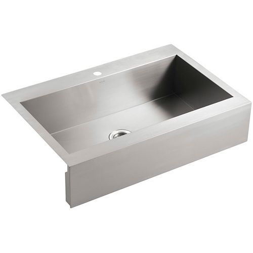 Self-Trimming Top-Mount Stainless Steel Apron-Front Kitchen Sink, 1 Faucet Hole