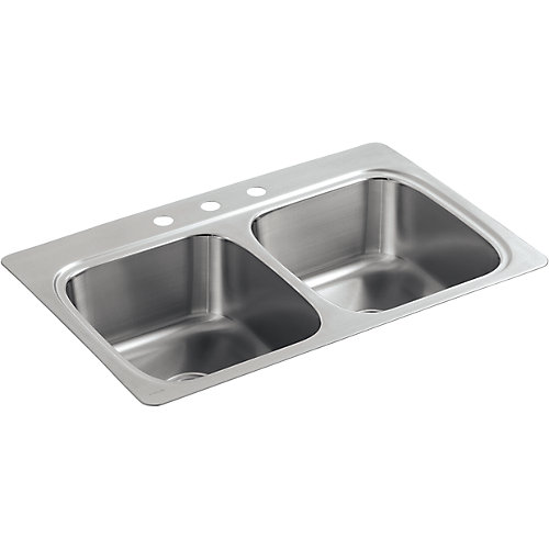 """33"""" X 22"""" X 9-1/4"""" Top-Mount Double-Equal Bowl Kitchen Sink With 3 Faucet Holes"""