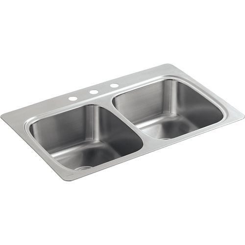 "33"" X 22"" X 9-1/4"" Top-Mount Double-Equal Bowl Kitchen Sink With 3 Faucet Holes"