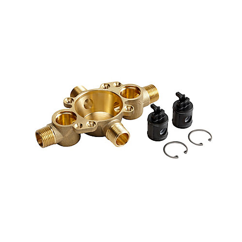 Pressure-Balancing Valve Body And Cartridge Kit With Service Stops