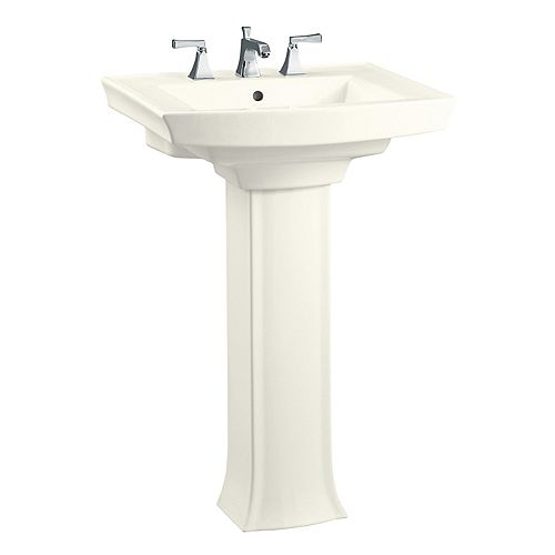 35-inch H Biscuit Vitreous China Pedestal Sink