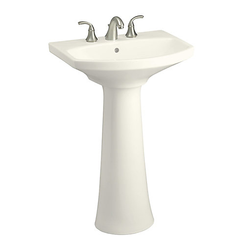 34.5-inch H Biscuit Vitreous China Pedestal Sink