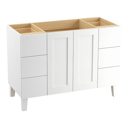 48 inch Vanity With Furniture Legs, 2 Doors And 6 Drawers, Split Top Drawers, Linen White