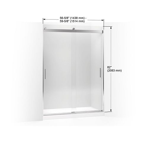 KOHLER Sliding Shower Door, 82-inch H X 56-5/8 To 59-5/8-inch W, With 3/8-inch Thick Crystal Clear Glass