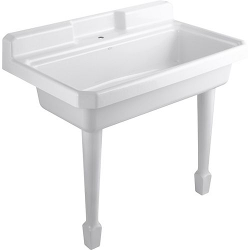 28-inch X 48-inch White Wall Mount Cast Iron Laundry Utility Sink