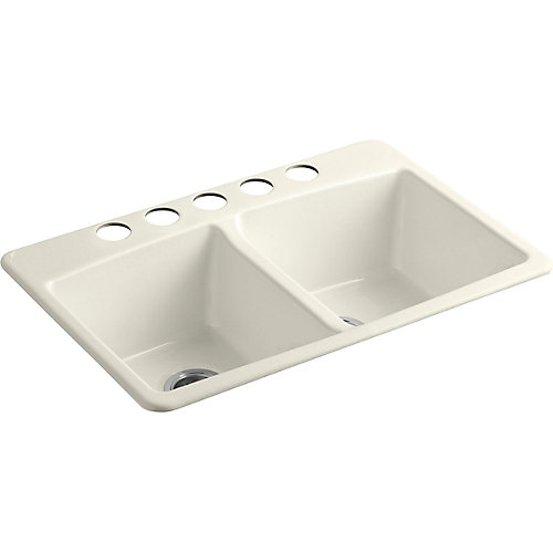33 inch X 22 inch Undermount Double-Equal Bowl Kitchen Sink