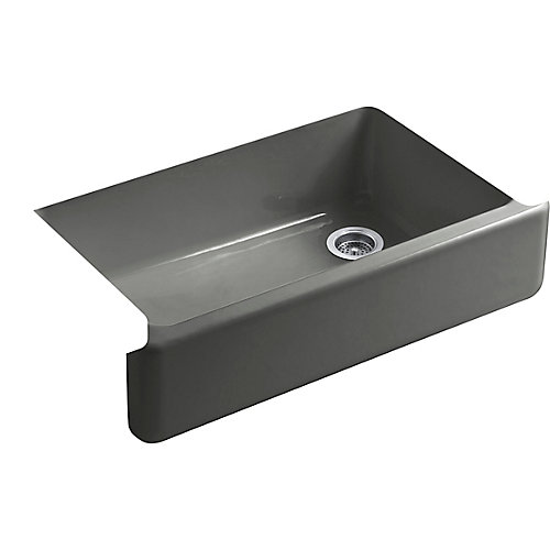 Self-Trimming Undermount Single-Bowl Kitchen Sink With Tall Apron, Thunder Grey
