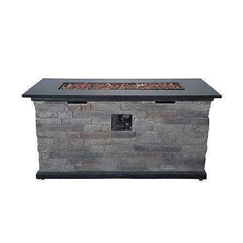 Table pour causer avec foyer rectangulaire