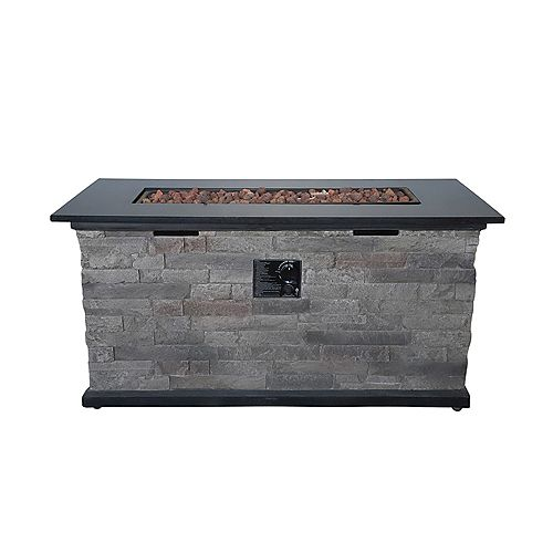 50K BTU Heat Output 304.2 sq. ft. Coverage Rectangular Faux-Stone Propane Fire Pit Chat Table