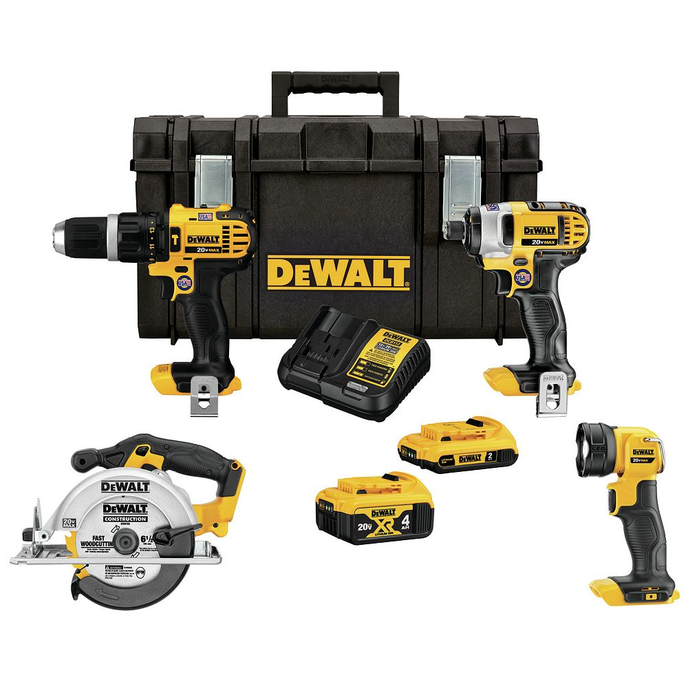 DEWALT 20V MAX Lithium-Ion Cordless Combo Kit (4-Tool), 2Ah Battery, 4Ah Battery, Charger, with Tough System Case