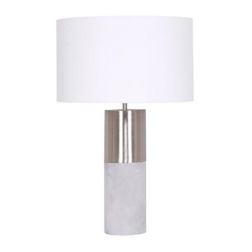 Lampe de table avec cylindre en béton et en métal