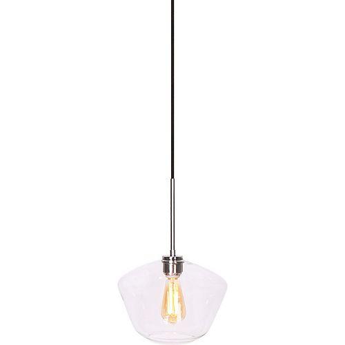 """Lampe suspendue de forme géométrique large Acier Brossé à 1 lumière, verre clair 11"""" dia"""