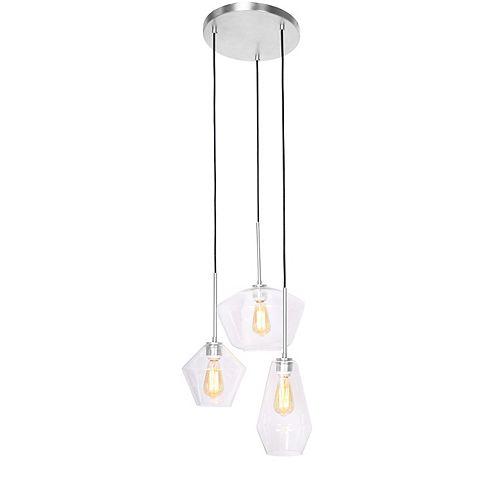"""Lampe suspendue Acier Brossé à 3 lumières, verre clair 6, 7, 11"""" dia"""
